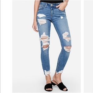 Express Mid Rise Medium Wash Ripped Jeans